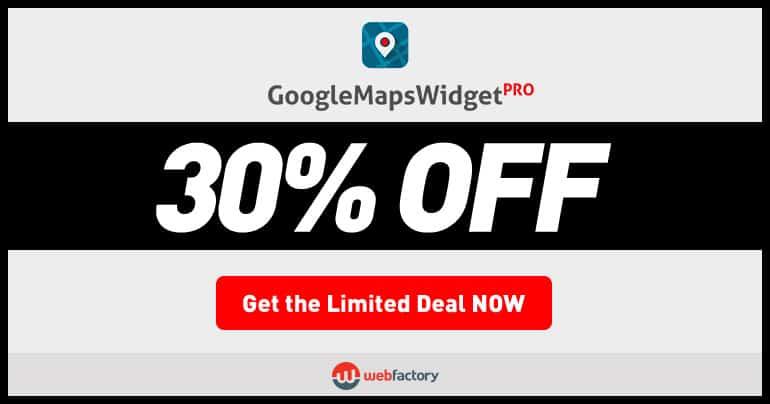 Google Maps Widget PRO Black Friday & Cyber Monday 2017 discount
