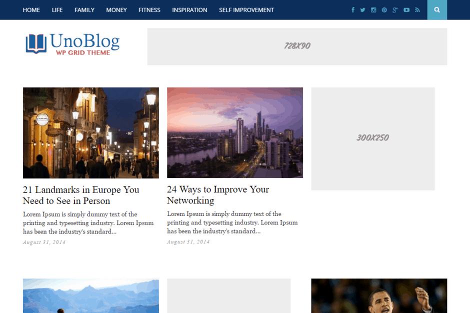 UnoBlog WordPress theme
