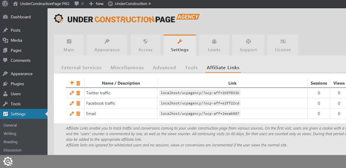 Affiliate Links in UnderConstructionPage