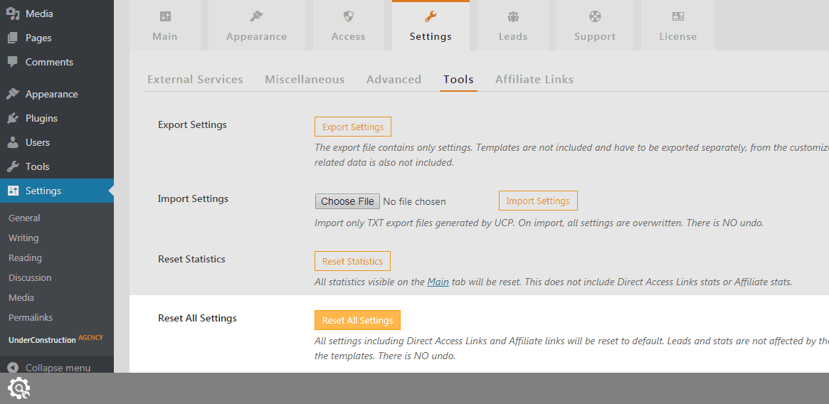 Reset All Settings in UnderConstructionPage