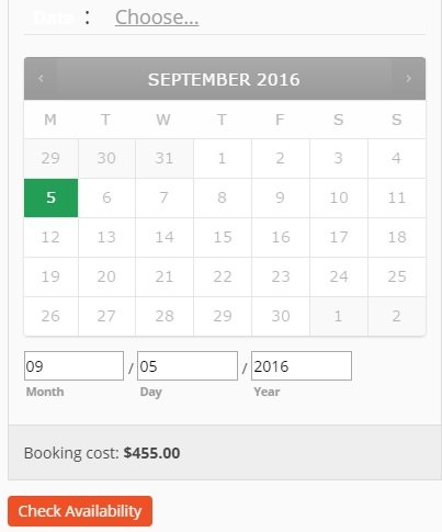Be sure to offer up a calendar for the bookings section