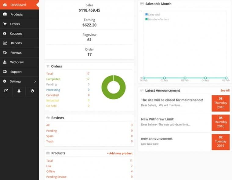 Your vendors will get to work from the frontend dashboard