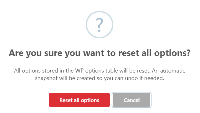 Reset all options