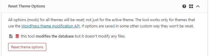 Reset Theme Options