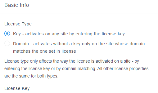 Licence Type Key
