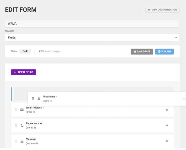 Forminator edit form window