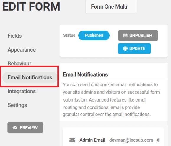 Forminator email settings tab