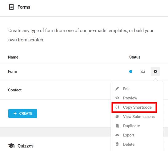 Forminator form shortcode tab