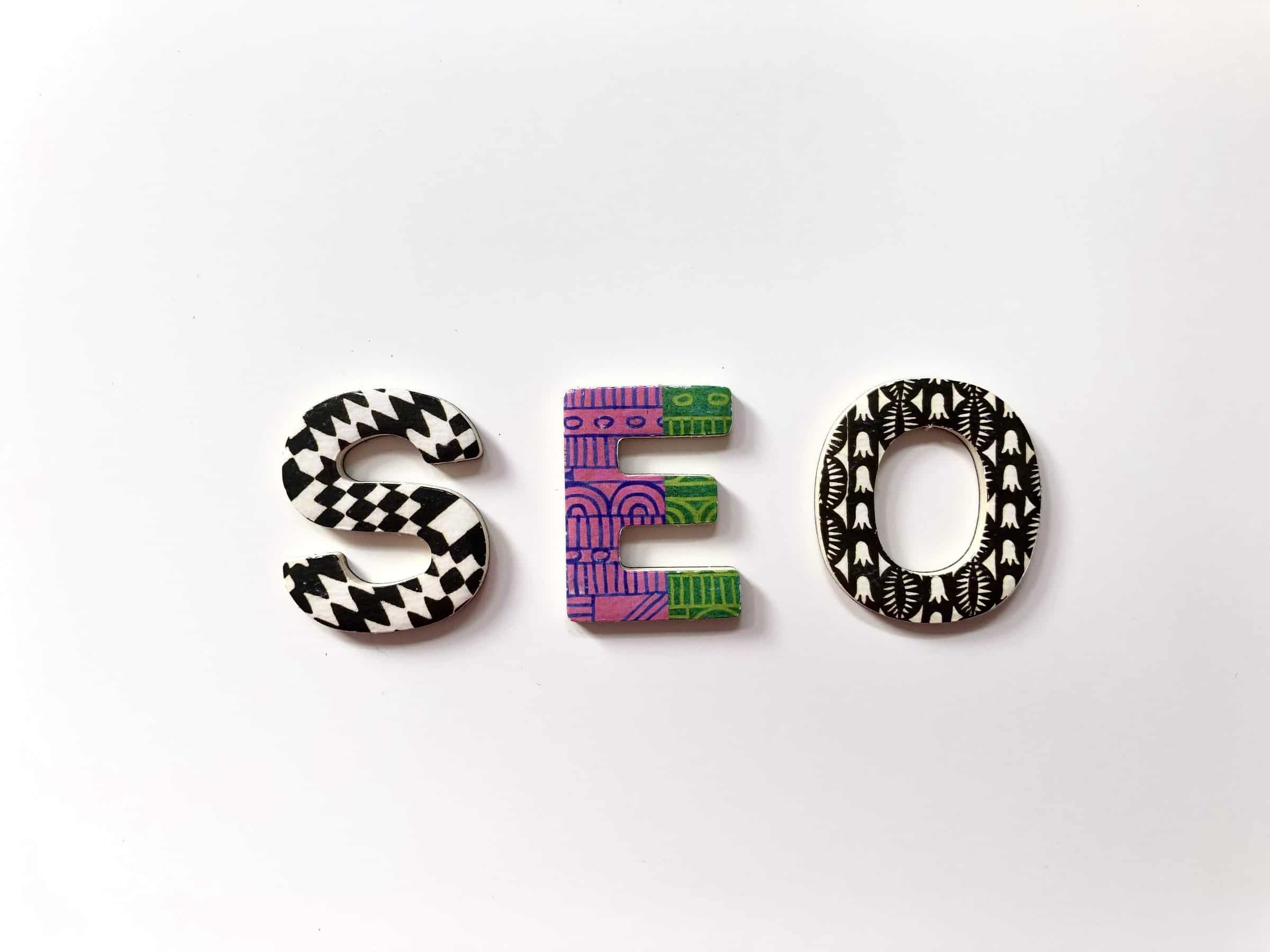 SEO in decorative letters