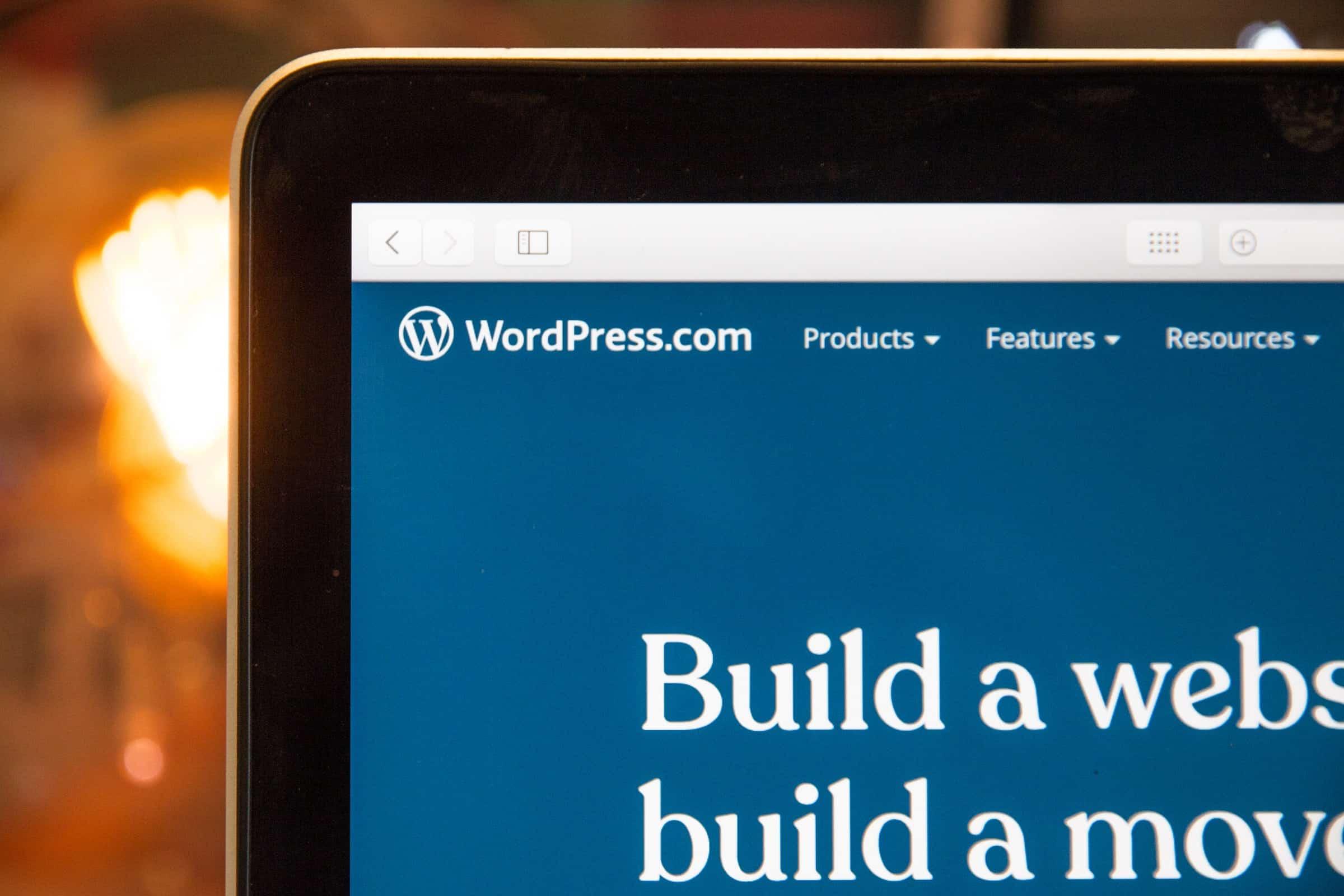 WordPress landing page on laptop
