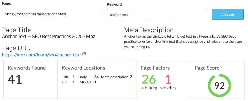 Moz keyword search
