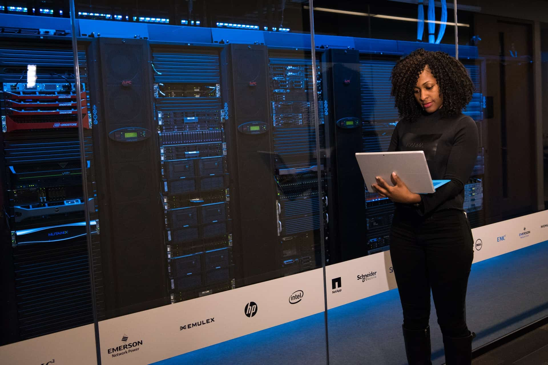 Woman standing in server room