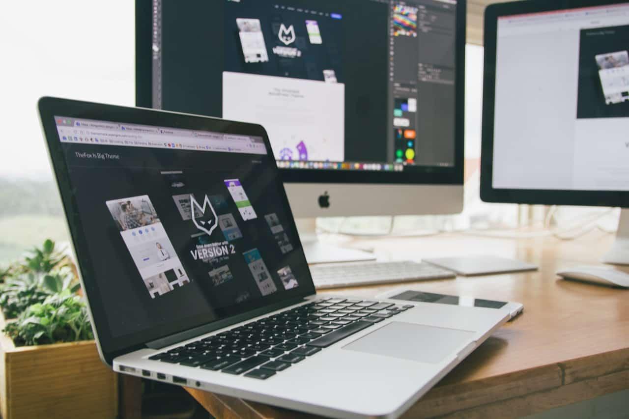 Laptop showing web design