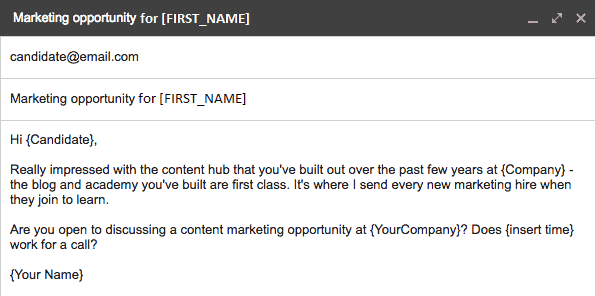 Marketing opportunity email