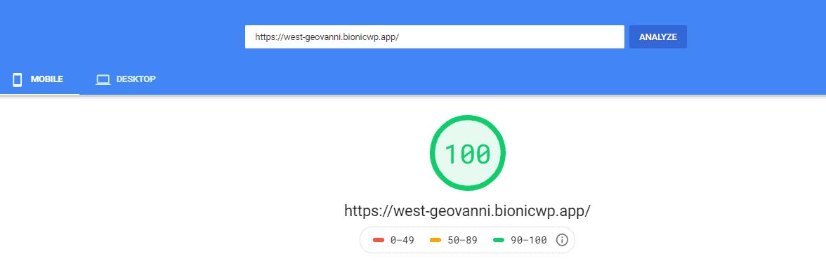 BionicWP PageSpeed score