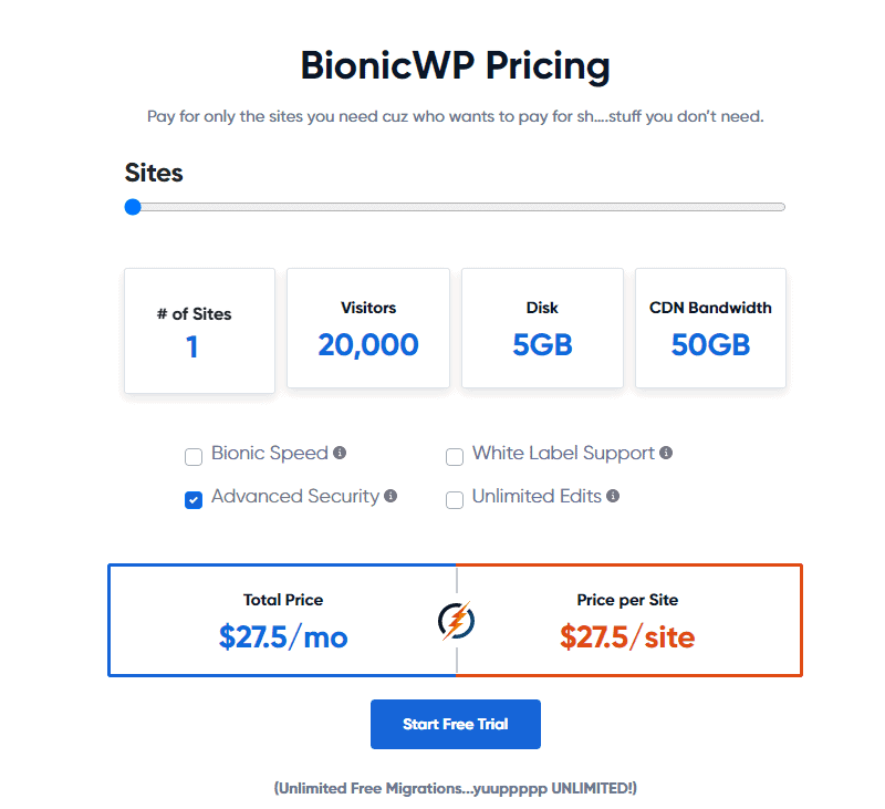 BionicWP pricing for 1 site