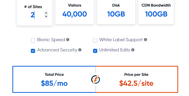 BionicWP pricing for 2 sites
