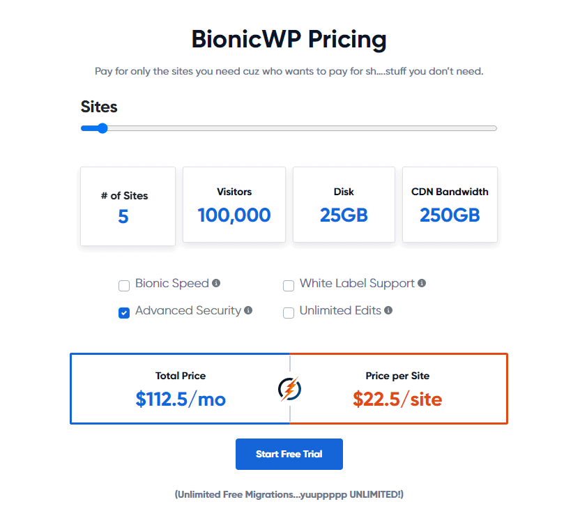 BionicWP pricing for 5 sites