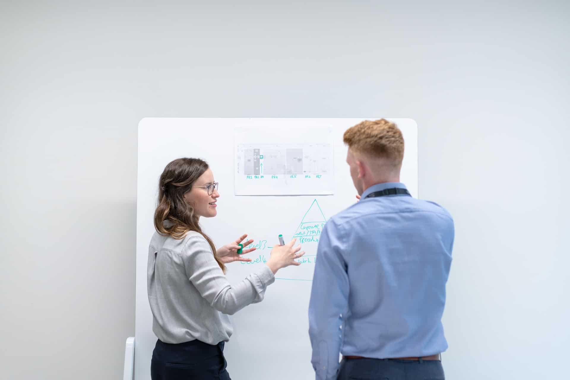 Man and woman in front of whiteboard