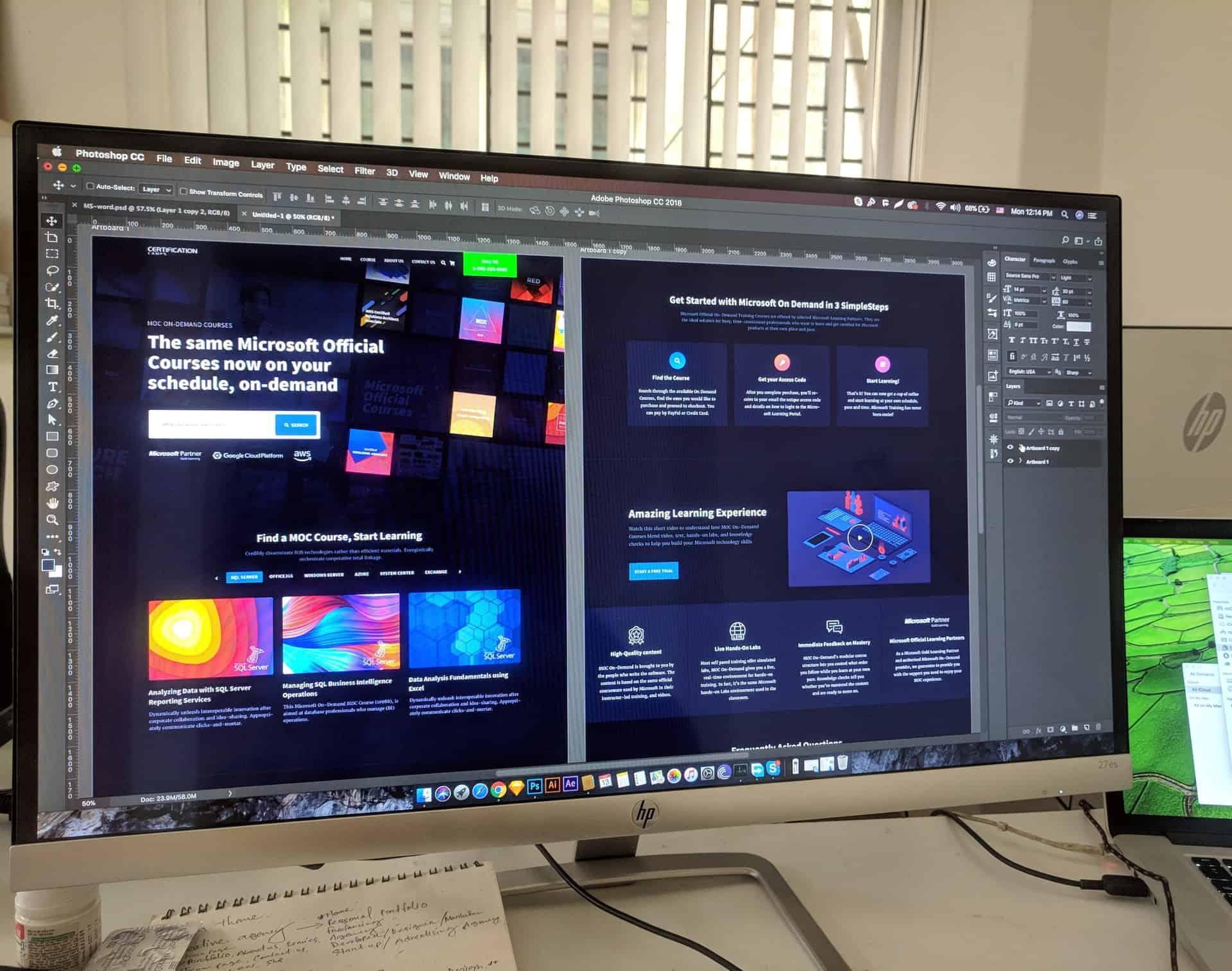 Website design in Photoshop