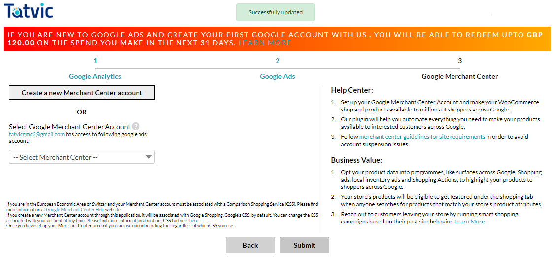 Enhanced Ecommerce Google Analytics Plugin for WooCommerce creating new Google Merchant Center account