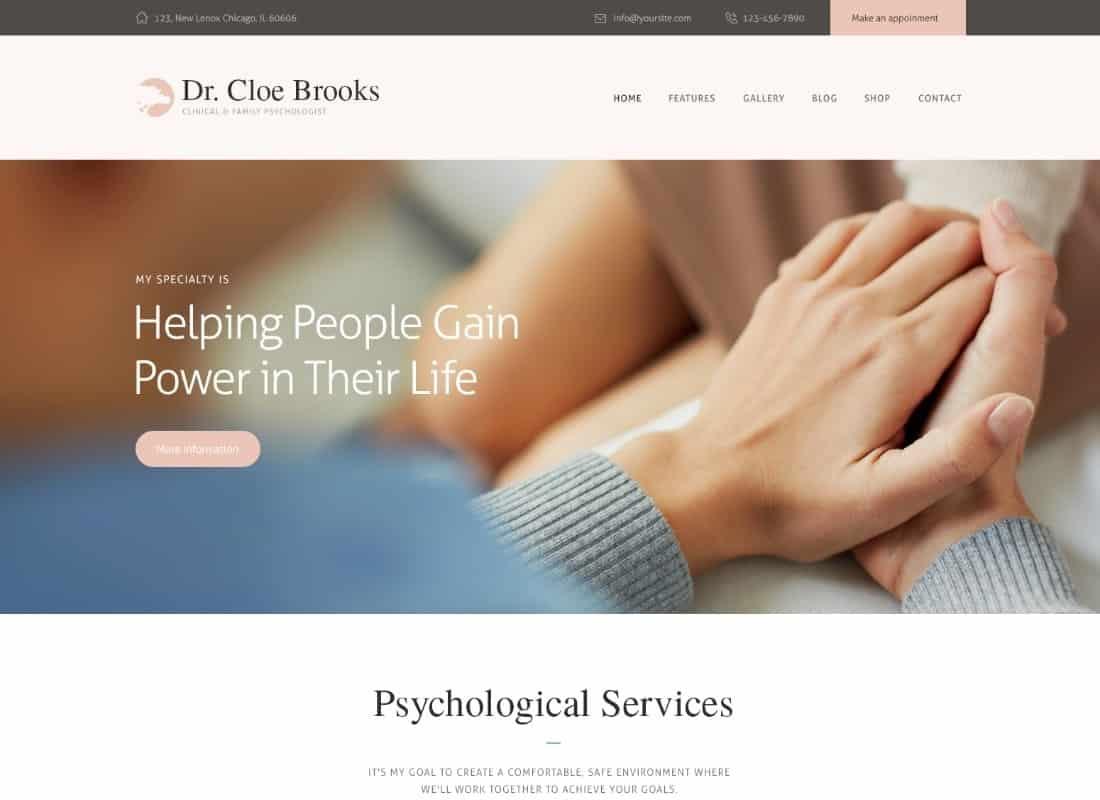 Cloe Brooks   Psychology, Counseling & Medical WordPress Theme + RTL