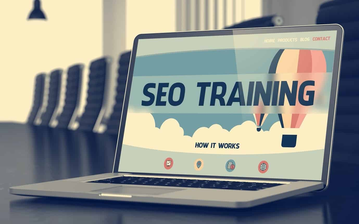 Laptop showing SEO training course