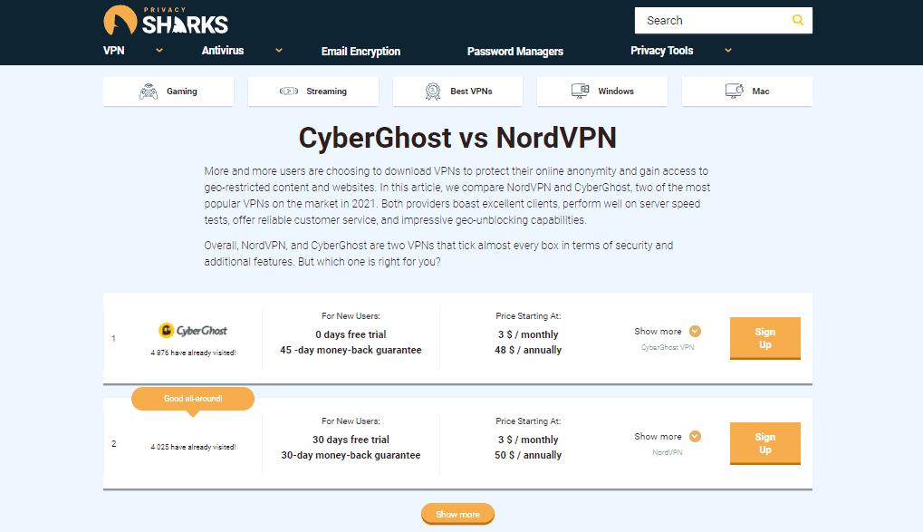 PrivacySharks CyberGhost vs NordVPN comparison
