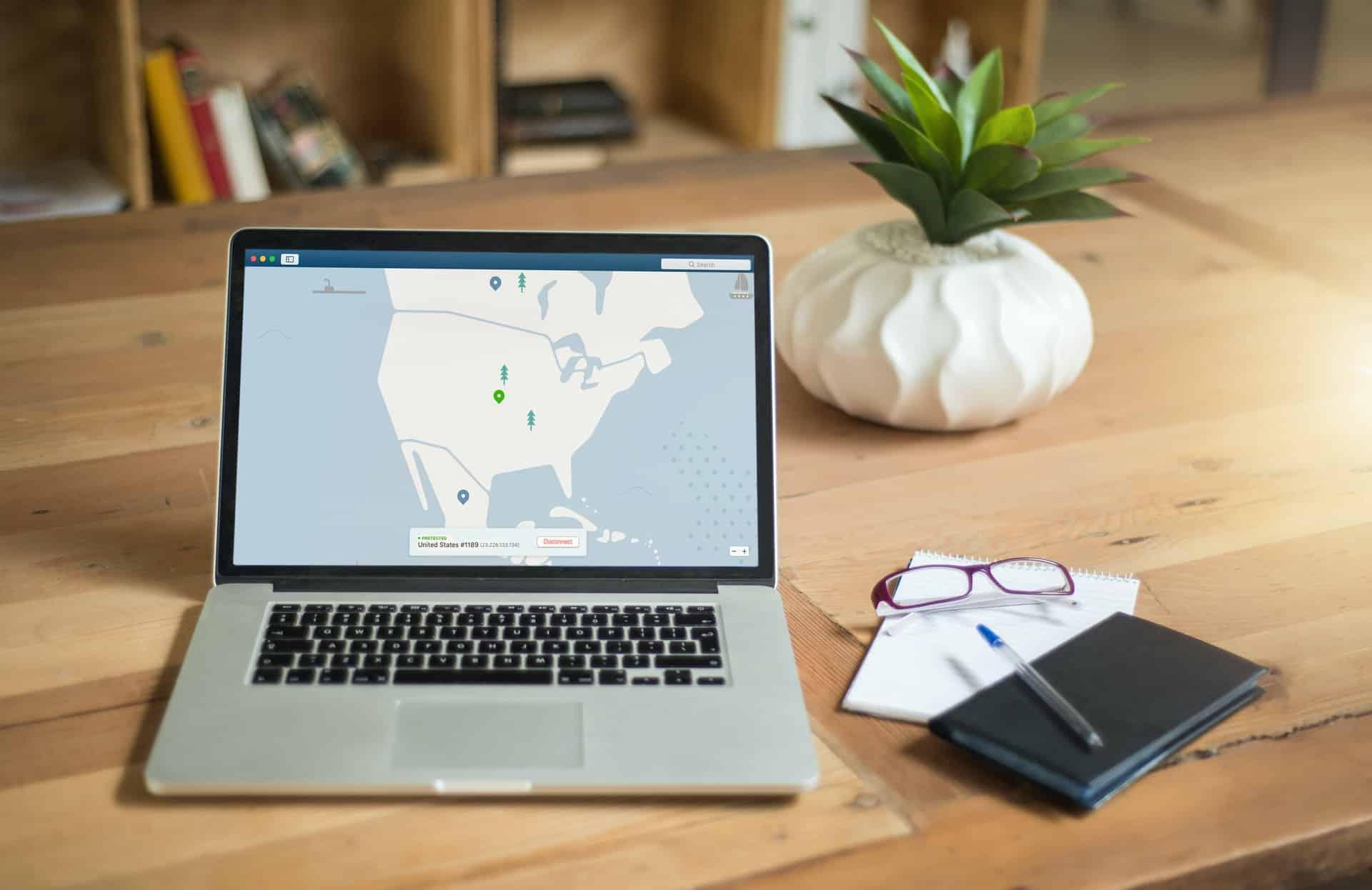 VPN location map on laptop