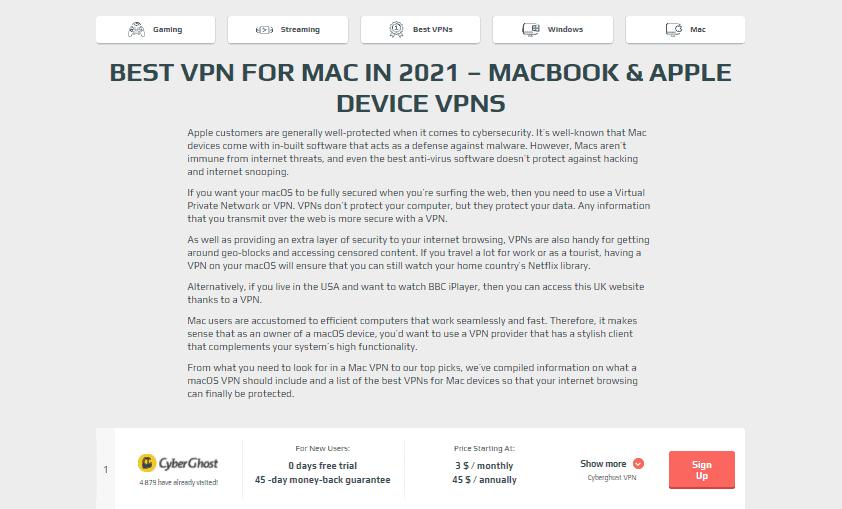 VPNSurfers Mac section