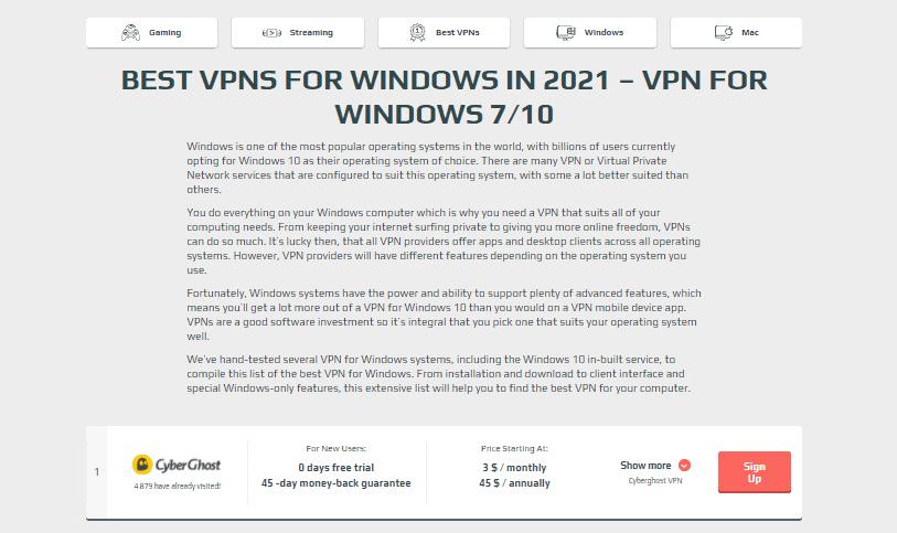 VPNSurfers Windows section