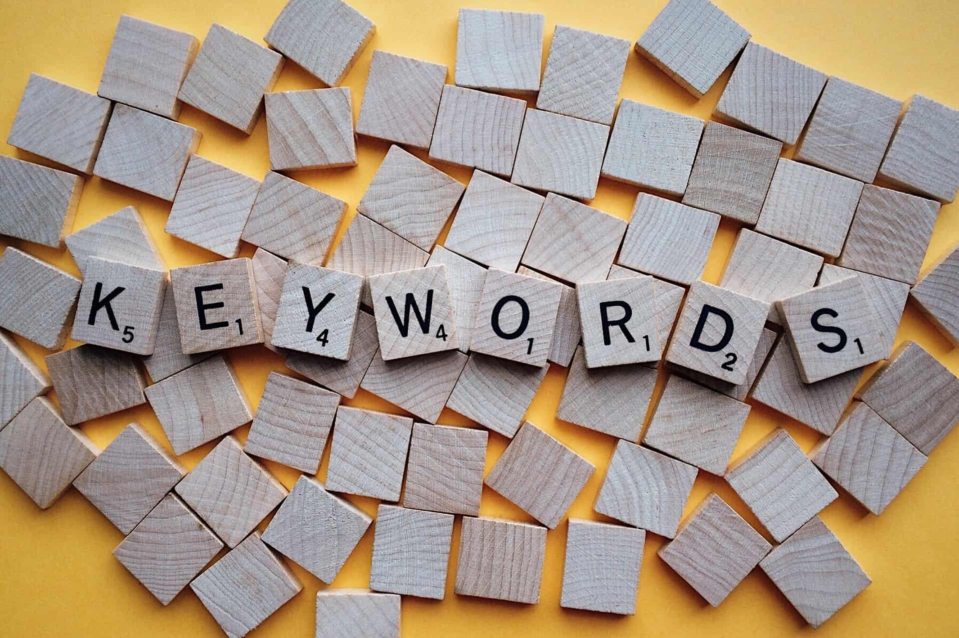 """Word """"keywords"""" in scrabble letters"""