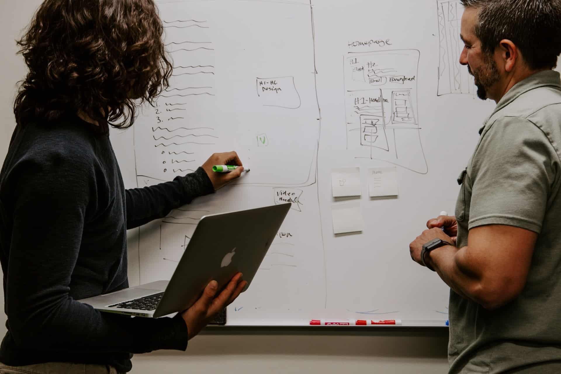 Two men planning on whiteboard