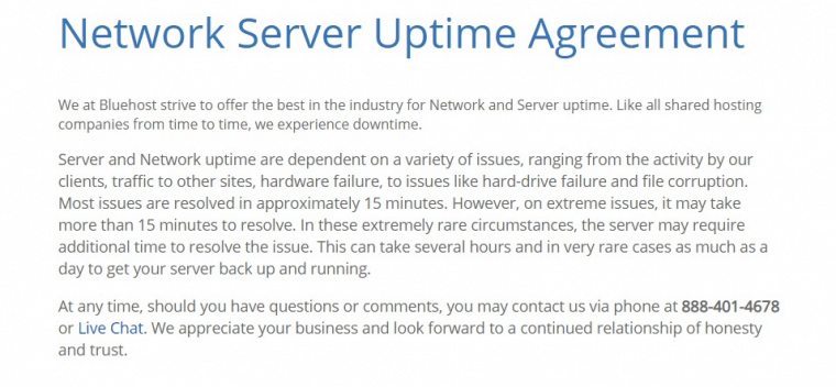 Bluehost network server uptime agreement