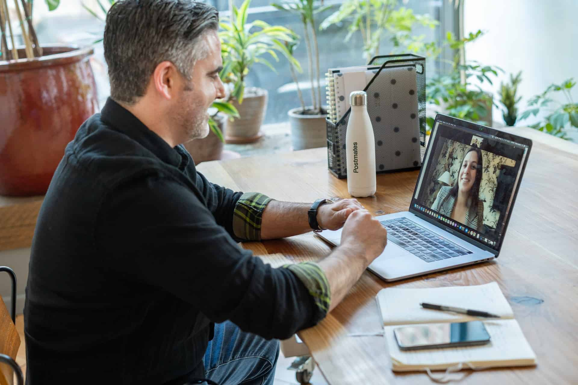 Man in video call