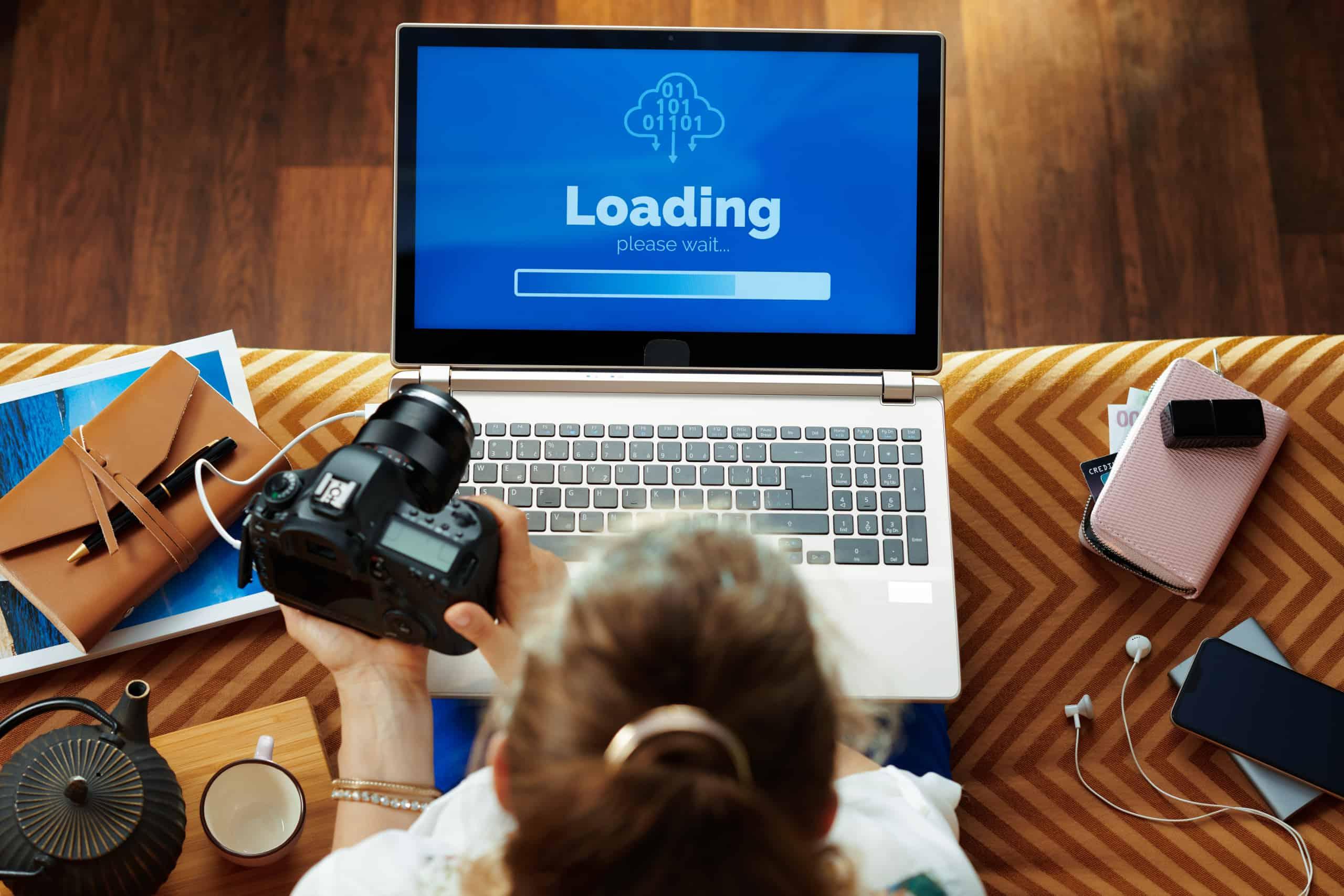 Woman looking at loading screen