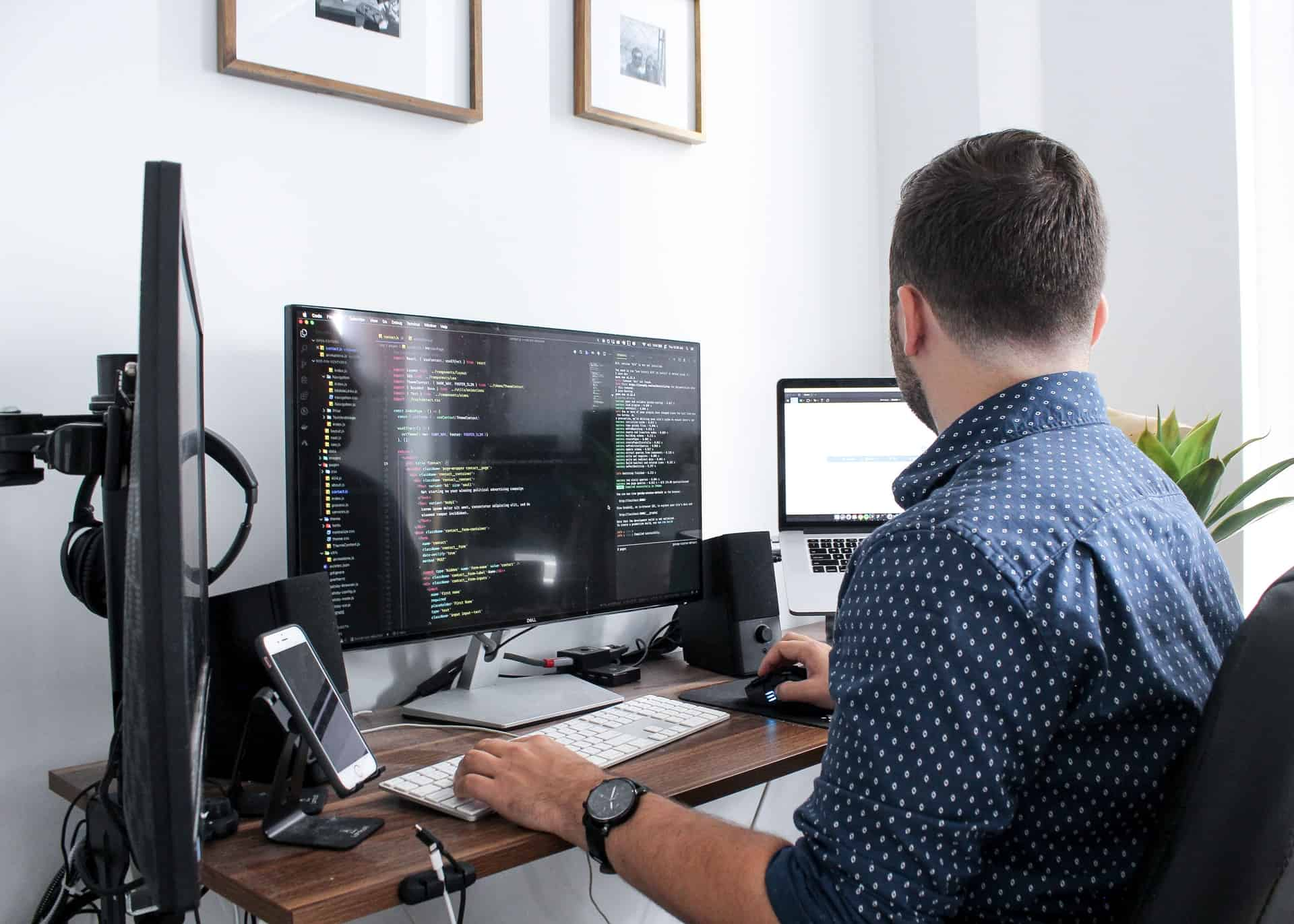 Man working with codes