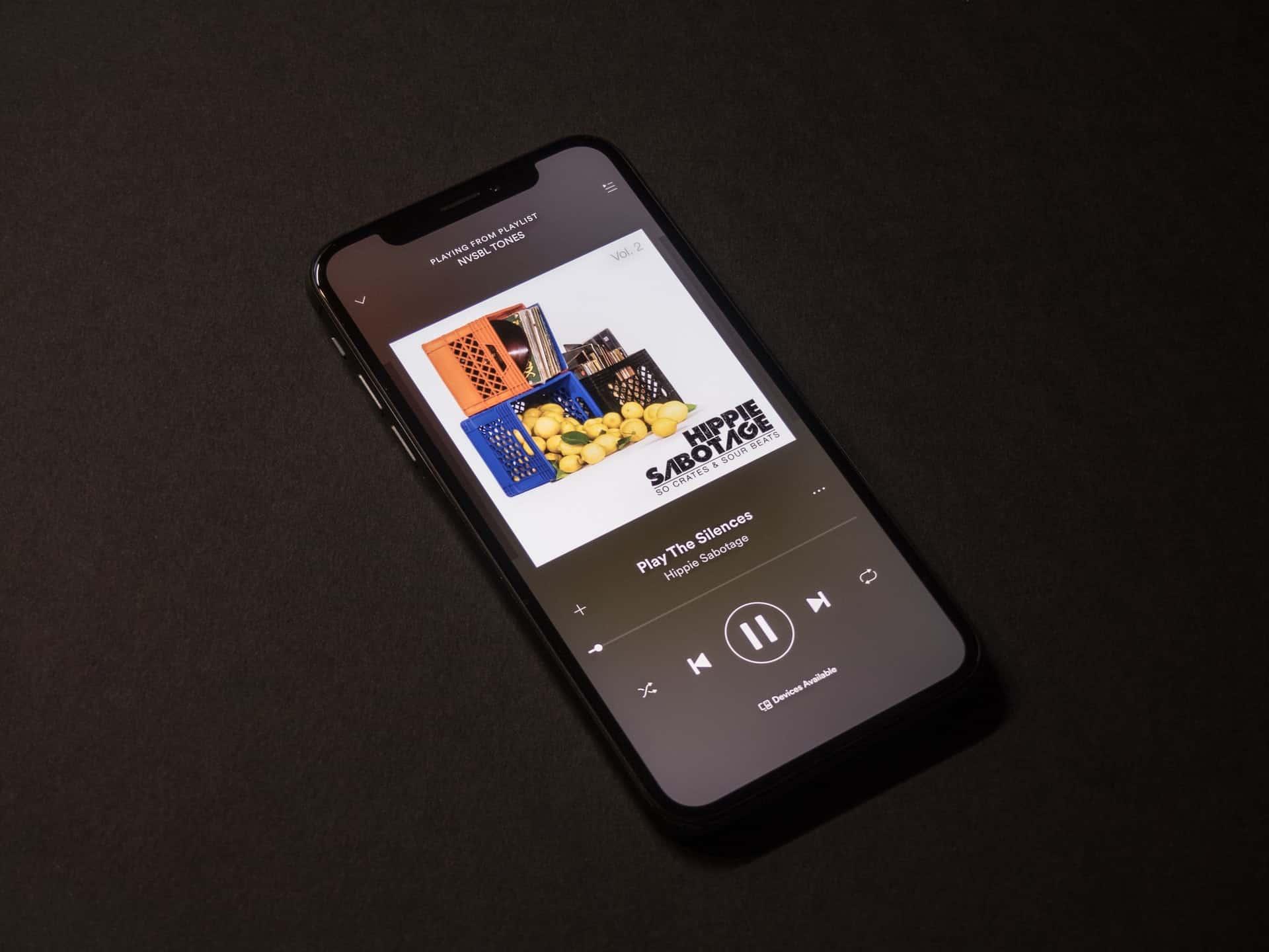 Phone playing Spotify